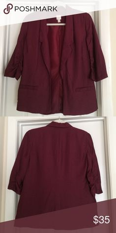 LC Lauren Conrad Burgundy Blazer Like new! LC Lauren Conrad blazer in a beautiful burgundy. Blazer features two faux hip pockets and ruching on the inside of 3/4 length sleeves. Only selling because I need a smaller size. LC Lauren Conrad Jackets & Coats Blazers