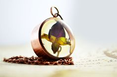 Real rose bud in jewelry grade resin -real flower pendant