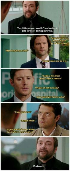 Poor Crowley thinking he's the only powerful one. Supernatural Destiel, Castiel, Funny Supernatural Memes, Misha Collins, Jared Padalecki, Jensen Ackles, Super Natural, Crowley, Comic