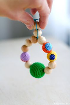 Teething ring  Natural wooden crochet teether by kangarusha