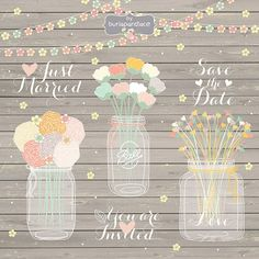 Hand Draw Mason Jar Wedding Invitation Clipart Rustic Country Invitations With Flowers