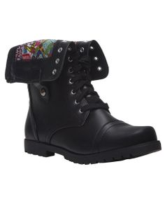 Get Superhero style with these faux leather combat boots featuring a shaft with an exposed zipper at the back that can be unzipped, folded o...
