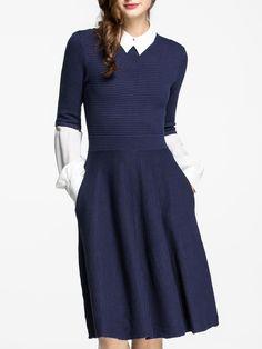 Shop Navy Lapel Long Sleeve Knit Pockets Dress
