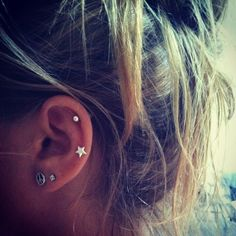 The cartilage and auricle (middle cartilage) piercings are perf