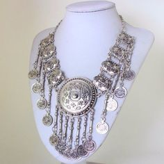 Ethnic Gypsy Bohemian Carved Big Round Disc Coin Tassels Bib Statement Necklace in Jewelry & Watches, Fashion Jewelry, Necklaces & Pendants | eBay