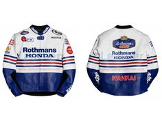 Freddie Spencer Rothmans Honda GP 1986 Race Jacket This replica jacket is designed exactly from the Freddie Spencer 1986 race suit when he took part in the Grand Prix with Rothmans Honda.