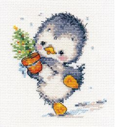 CROSS STITCH KIT READY FOR CHRISTMAS Counted cross stitch kit.  Contents: * GAMMA 100% Cotton floss * Fabric: Aida (14 count) - 100% Cotton * Needle * Color Chart * Instruction in Russian only * Size: 4.33X4.73 inches  This is a cute and nice picture. ALISA company is one of the best Russian cross stitch kits manufacturers. It's been on the market since 2006. Their kits include floss and canvas made by Russian company Gamma® with its production sites located in Serbia. From a smoke and pets…