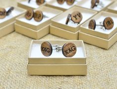 Wood Cufflinks Personalized Cuff Links Laser by HartPapery