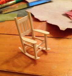 1:24 scale rocker made out of coffee stirrers