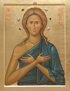 This icon of Saint Mary of Egypt can be painted on a board made of solid wood using either acrylic or tempera paints Orthodox Catholic, Russian Orthodox, St Mary Of Egypt, Paint Icon, Religious Icons, Orthodox Icons, Saints, Religion, Painting
