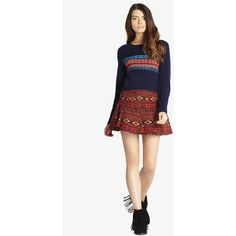 BCBGeneration Flared Jacquard Miniskirt ($26) ❤ liked on Polyvore featuring skirts, mini skirts, red, flare skirt, white flare skirt, flared skirt, short flared skirt and white mini skirt