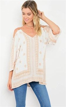 Beautiful Top Ivory Taupe Print