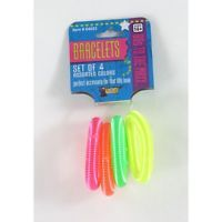 80's Coil Spring Costume Bracelets Eighties Party Bracelet Pack Of 4