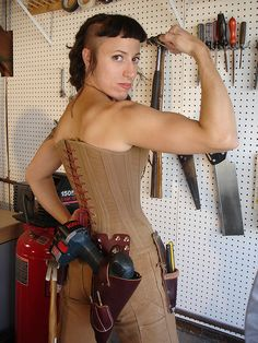 Seriously. This woman looks like a real pippi grown up. Fierce!!    Carhartt Inspired Work Corset by nifnaks, via Flickr