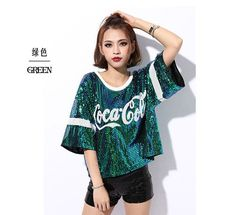 New female sexy nightclub ds costumes jazz Dance Wear tops singer perform t shirt hip-hop clothing sequined tops