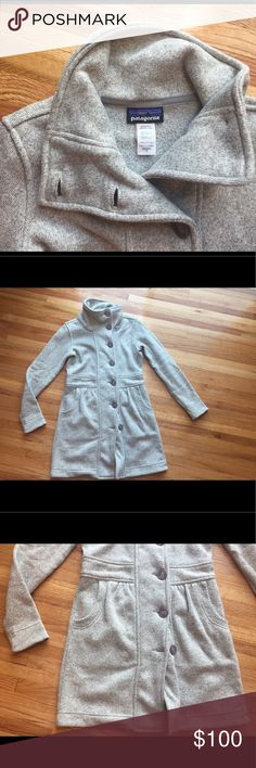 Patagonia long winter jacket/fleece Stunningly beautiful and functional jacket. Mid thigh/knee length. Size small. Full button front. Front pockets. Excellent used condition. Patagonia Jackets & Coats