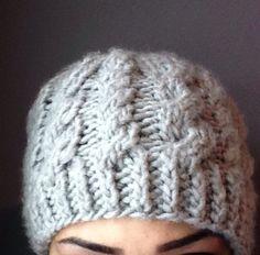 Oooooo Handmade Stretchy Cable Knit Hat in Light by ShopRainyDayCrafts