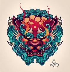 Fu dog tattoo design tattoo wave tattoo foo dog lineart by quinneys