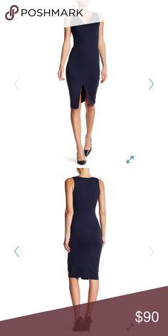 "Ponte V-Neck Bodycon Dress - V-neck - Sleeveless - Back zip closure - Front slit - Approx. 43"" length (size S) - Made in USA Fiber Content 68% rayon, 25% nylon, 7% spandex Dresses"