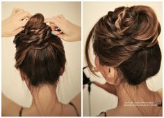 Cute messy bun with braids - ballerina twisted updo hairstyle