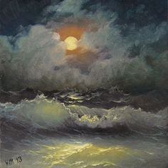 Moonlit Night  6x 6 original oil painting by vladimirmesheryakov, $219.99