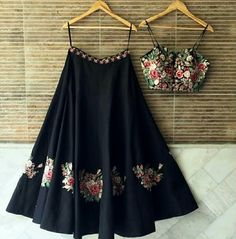 Checkout this newly arrival flower embroidered wall lehenga choli Get the look for only 1600 INR To buy WhatsApp @ 9054562754 Indian Fashion Trends, Indian Fashion Dresses, Indian Gowns Dresses, Dress Indian Style, Indian Designer Outfits, Indian Outfits, Fashion Outfits, Indian Designers, Indian Clothes