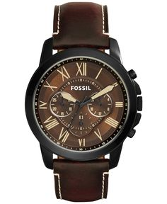 Fossil Men's Chronograph Grant Dark Brown Leather Strap Watch 45mm FS5088 - Men's Watches - Jewelry & Watches - Macy's