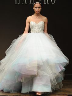Lazaro wedding dress shown at Bridal Fashion Week 2012.  Usually i think colored wedding dresses are tacky but this is so fun!