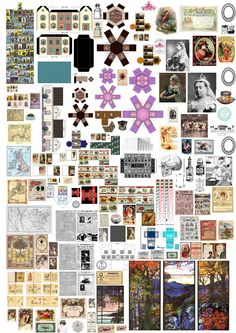 A second poster of miniature printables - Print off at A3 size for Victorian/early C20th dolls house designs at scale 1:12. ..