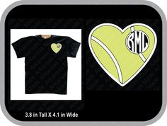 Tennis heart monogram custom shirt, shown with round monogram on pocket area of shirt - pinned by pin4etsy.com