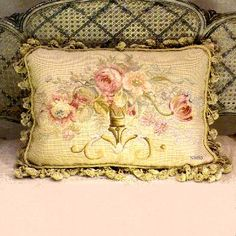 ♥ Aubusson pillows, Repassy style roses, light sage background, olive tassle fringe, charming