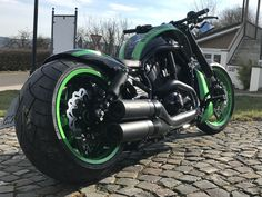 "Harley Davidson V Rod ""Green Hell"" by Discover all our Custom Bikes and enjoy all our Streetfighter & Muscle Tuned around the world. Night Rod Custom, V Rod Custom, Custom Harleys, Custom Bikes, Harley Davidson Night Rod, Harley V Rod, Night Rod Special, Triumph Rocket, Black Headlights"