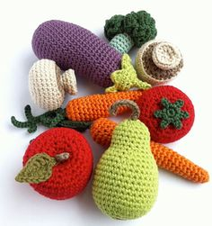 Crochet Fruit and Vegetables 8 / Crochet Vegetables / Seasons / Eco-friendly Decoration / Decor / Centrepiece - 8 Pieces Crochet Fruit, Crochet Food, Cute Crochet, Crochet Yarn, Crochet Mandala Pattern, Crochet Patterns, Yarn Projects, Crochet Projects, Crochet Afgans