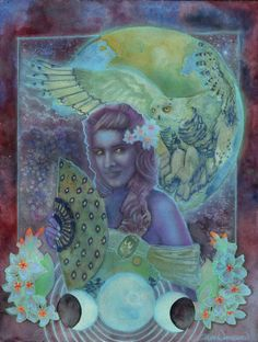The Goddess LilithOwl and MoonACEO Art Print by PearlWhitecrow, $1.00