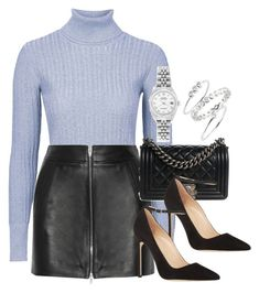 """""""Style #9314"""" by vany-alvarado ❤ liked on Polyvore featuring Unique, T By Alexander Wang, Chanel, Manolo Blahnik, Sugar Bean Jewelry and Rolex"""