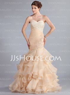 Prom Dresses - $168.99 - Mermaid Sweetheart Sweep Train Organza Prom Dress With Ruffle Lace Beading (018026261) http://jjshouse.com/Mermaid-Sweetheart-Sweep-Train-Organza-Prom-Dress-With-Ruffle-Lace-Beading-018026261-g26261