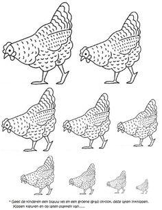 Kleur de kippen, knip deze uit en plak ze op van ..... [digijuf]
