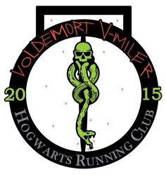 Voldemort V-Miler Medal artwork complete with glow in the dark paint and a spinning core! Register at Hogwarts Running Club on facebook!