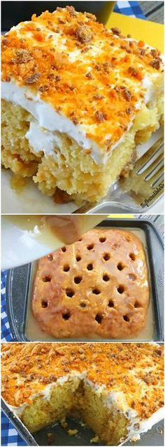"I will sub in a gluten free yellow cake mix to make this gluten free. Previous pinner said: ""This Butterfinger Ecstasy Cake from My Incredible Recipes is one of the easiest and most delicious cakes you will ever make! Poke Cakes, Poke Cake Recipes, Cupcake Cakes, Dessert Recipes, Yellow Cake Recipes, Yellow Cake Mixes, Cake Icing, Frosting Recipes, Yummy Treats"