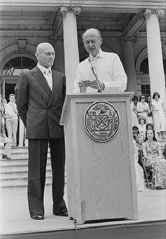 New York City Mayor Edward I. Koch presenting Yul Brynner with a medallion, July 27, 1978.