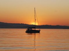 Sunset in San Francisco Bay, at anchor close to Ballena Isle in Alameda.