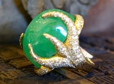 Churchill Private Label 18K White Gold and 30 Carat Water Emerald Ring with Pave Diamonds