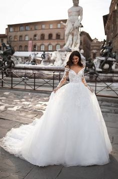 Milla Nova Sarah A-line Wedding Dress Royal Collection 2020 Bride Royal Wedding Gowns, Stunning Wedding Dresses, Wedding Dresses For Sale, Bridal Gowns, Gown Wedding, Making A Wedding Dress, High Fashion Dresses, Wedding Dress Patterns, Wedding Dress Sleeves
