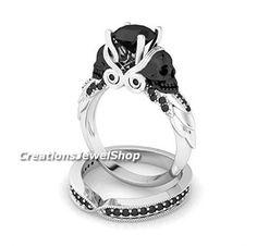 Gothic Wedding Rings, Skull Wedding Ring, Skull Engagement Ring, Black Wedding Rings, Engagement Wedding Ring Sets, Engagement Ring Settings, Black Rings, Solitaire Engagement, Diamond Skull