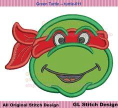 Mutant Ninja Turtle Head machine embroidery applique, sea animal, sealife digital design, 3 sizes,  turtle-011