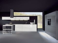 Idea of the Day: Modern white kitchens. (By ALNO, AG). Very nice, two tone white gray peninsula hood black walls ceiling Grey Kitchen Floor, Dark Grey Kitchen, White Kitchen Backsplash, White Kitchen Island, Black Kitchen Cabinets, Gray Floor, White Kitchens, Modern Kitchens, Dream Kitchens