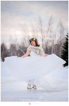 Rustic Winter wedding - skating by Genevieve Albert Photographer www.genevievealbert.com