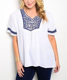 Love this White & Navy Embroidered V-Neck Top - Plus on #zulily! #zulilyfinds