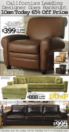The Dump 3/2/12 Dallas Morning News, Local Ads, Furniture Ads, Recliner, Advertising, Chair, Classic, Leather, Design