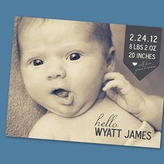 Vintage Baby Birth Announcement (set of 50)